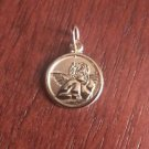 14K SOLID YELLOW GOLD SMALL POLISHED ANGEL DISC CHARM / PENDANT -  1.1 GM