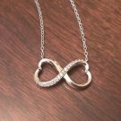 STYLISH STERLING SILVER & CZ HEART INFINITY CHARM PENDANT & NECKLACE  18""