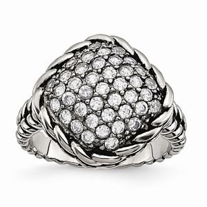 CHISEL BRAND POLISHED AND ANTIQUED STAINLESS STEEL SQUARE WITH CZ  RING - SIZE 7