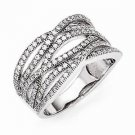 STERLING SILVER MODERN CONTEMPORARY DESIGNER CZ SWIRL BAND RING - SIZE 8