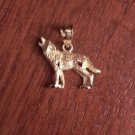 SMALL 14K YELLOW GOLD SATIN & DIAMOND-CUT HOWLING LONE WOLF PENDANT / CHARM
