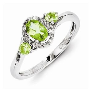 STERLING SILVER NATURAL GENUINE 0.7CT GREEN PERIDOT & DIAMOND RING - SIZE 7