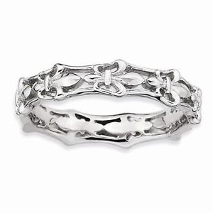 STERLING SILVER STACKABLE EXPRESSIONS FLEUR DE LIS  BAND / RING - SIZE 10