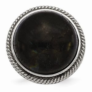 CHISEL BRAND  STAINLESS STEEL POLISHED AND TEXTURED LABRADORITE  RING -  SIZE 7