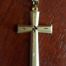 14K SOLID YELLOW GOLD SATIN  CROSS RELIGIOUS  CHARM PENDANT - 4.6  GRAMS