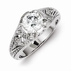 BEAUTIFUL ANTIQUE STYLE STERLING SILVER FILIGREE CZ RING - SIZE 7