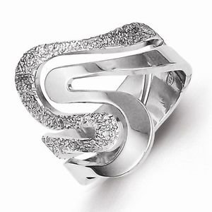 STERLING SILVER POLISHED AND TEXTURED SWIRL  RING - MADE IN ITALY -  SIZE 7