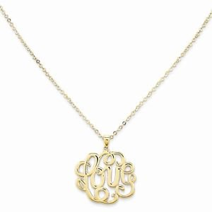 "14K YELLOW GOLD MONOGRAM ""LOVE"" PENDANT/CHARM ON 17"" CABLE CHAIN NECKLACE"
