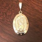 10K SOLID YELLOW GOLD SAINT CHRISTOPHER MEDAL CHARM OVAL PENDANT - 2.4 GM  1.4""