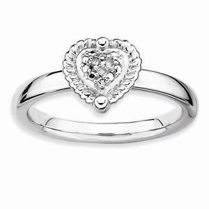 STERLING SILVER STACKABLE EXPRESSIONS HEART DIAMOND RING - SIZE 7