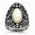 ANTIQUED STAINLESS STEEL CRYSTAL AND MOTHER OF PEARL RING -  SIZE 6