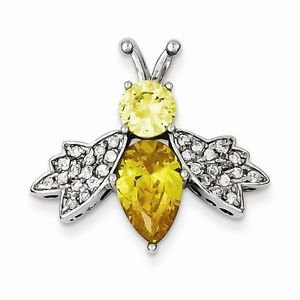 STERLING SILVER SMALL YELLOW AND CLEAR CZ BEE SLIDE  PENDANT/ CHARM- 4.3  GRAMS