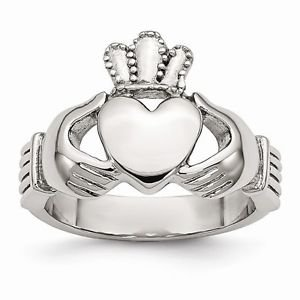 CHISEL BRAND POLISHED STAINLESS STEEL CLADDAGH WEDDING BAND / RING- SIZE 10