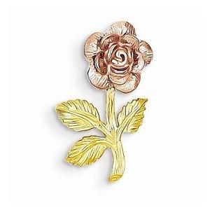 14K GOLD TWO TONE PINK ROSE FLOWER CHARM SLIDE  PENDANT - 0.8 GRAMS