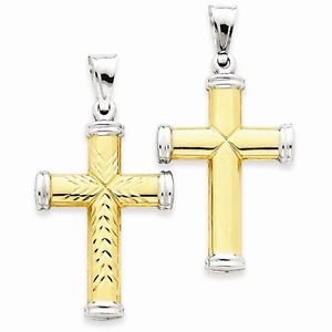 14K GOLD TWO-TONE HOLLOW DIAMOND-CUT LARGE CROSS CHARM PENDANT   2.2 GM  1.9 IN