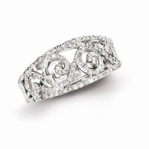 STERLING SILVER .50CT  DIAMOND  SWIRL  RING - SIZE 7