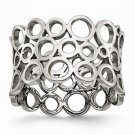 STAINLESS STEEL CUT OUT CIRCLES  CONTEMPORARY MODERN RING - SIZE 6