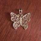 14K SOLID YELLOW GOLD  FILIGREE BUTTERFLY  CHARM /  PENDANT -  1.1  GRAMS