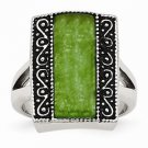 STAINLESS STEEL ANTIQUED SYNTHETIC JADE RECTANGULAR  RING -  SIZE 9