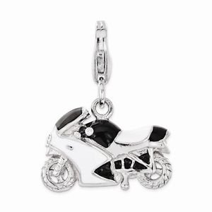 SMALL STERLING SILVER 3-D ENAMELED MOTORCYCLE W/ CRYSTAL  CHARM W/ LOBSTER CLASP