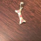 14K YELLOW GOLD POLISHED DOG BONE CHARM/PENDANT WITH RED ENAMEL PAW PRINTS