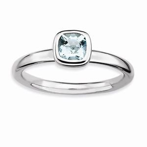 STERLING SILVER STACKABLE EXPRESSIONS  NATURAL AQUAMARINE RING / BAND - SIZE 6