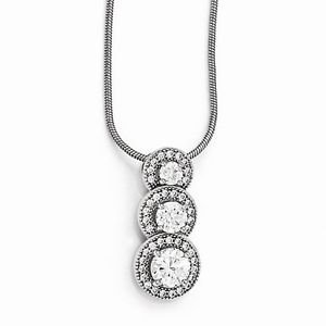 """STERLING SILVER & CZ SMALL HALO 3-STONE JOURNEY CHARM PENDANT & NECKLACE   18"""""""
