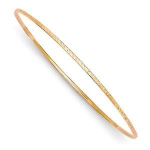 14K ROSE GOLD DIAMOND-CUT  HOLLOW 1.5MM SLIP-ON BANGLE BRACELET