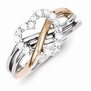 STERLING SILVER ROSE GOLD PLATED WAVY TWIST DESIGN CZ HEART RING - SIZE 8