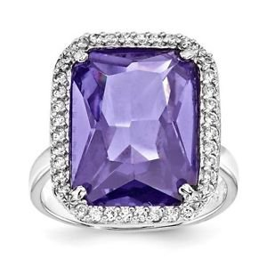 STERLING SILVER RECTANGLE / RECTANGULAR  CLEAR &  PURPLE CZ RING -SIZE 9