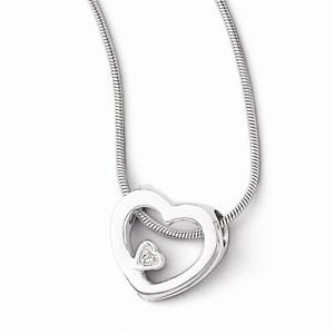 STERLING SILVER WHITE ICE FLOATING DIAMOND HEART CHARM PENDANT NECKLACE 18-20""