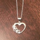 "STERLING SILVER HEART / HEARTS CHARM PENDANT & NECKLACE - 18"" CHAIN"