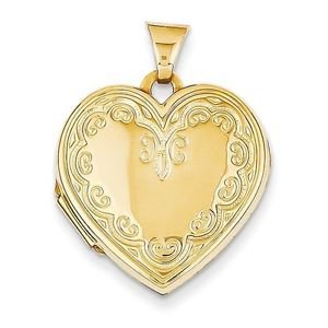 14K YELLOW GOLD POLISHED HEART LOCKET - HOLDS 2 PHOTOS - 2.22  GRAMS