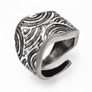 LESLIES DESIGNER BRAND STERLING SILVER DIAMOND CUT CONTEMPORARY ADJUSTABLE RING