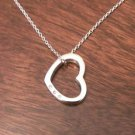 STERLING SILVER WHITE ICE DIAMOND HEART CHARM / PENDANT & NECKLACE - 18""