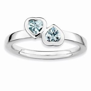 STERLING SILVER STACKABLE EXPRESSIONS DOUBLE HEART AQUAMARINE RING - SIZE 9