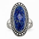 CHISEL BRAND ANTIQUED STAINLESS STEEL BLUE LAPIS  RING -  SIZE 6