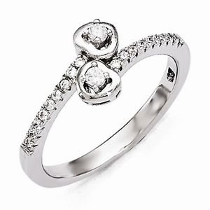 BRILLIANT EMBERS STERLING SILVER AND CZ HEARTS / HEART RING - 21 STONES - SIZE 6