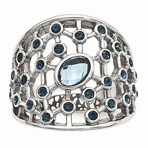 CHISEL BRAND STAINLESS STEEL MODERN BLUE GLASS AND CRYSTAL RING  -  SIZE 8