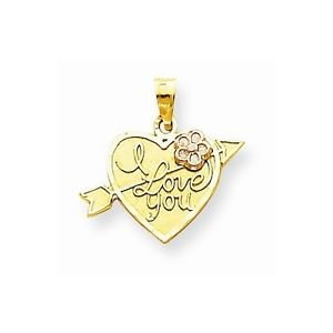 10K GOLD SMALL TWO-TONE I LOVE YOU HEART WITH ARROW CHARM  PENDANT - 0.9 GRAMS