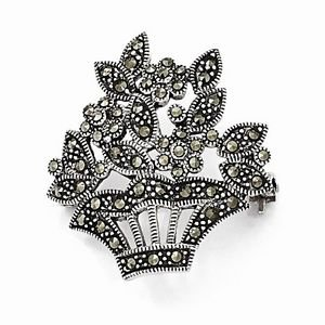 STERLING SILVER ANTIQUED  MARCASITE FLOWER  PIN ( BROACH / BROOCH/ BROOCHE)