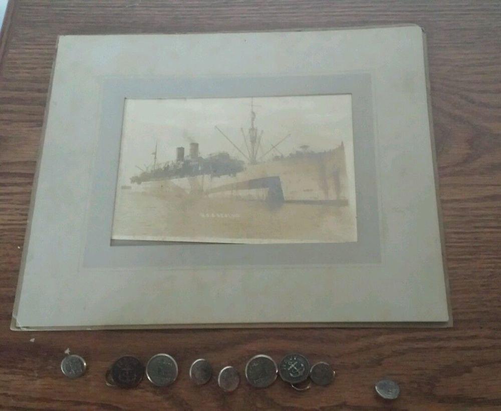 "Original WWI Photograph ""U.S.S. Reolus Battle Ship & buttons - WWI Navy pictures"