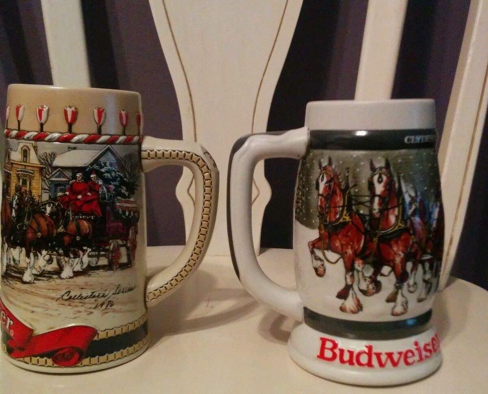 Vintage 1987 & 1989 Budweiser Christmas Holiday Steins Mugs