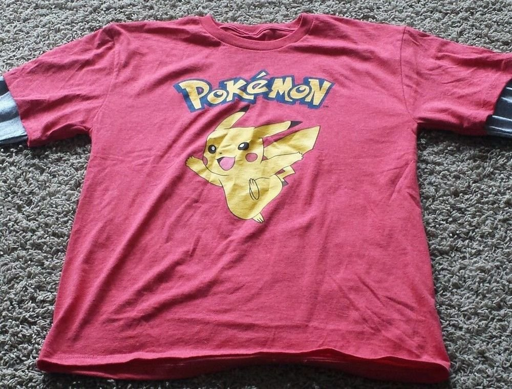 Pokemon t shirts for men - Red T-shirt : Flannel, Graphic Tee, Nintendo and XL
