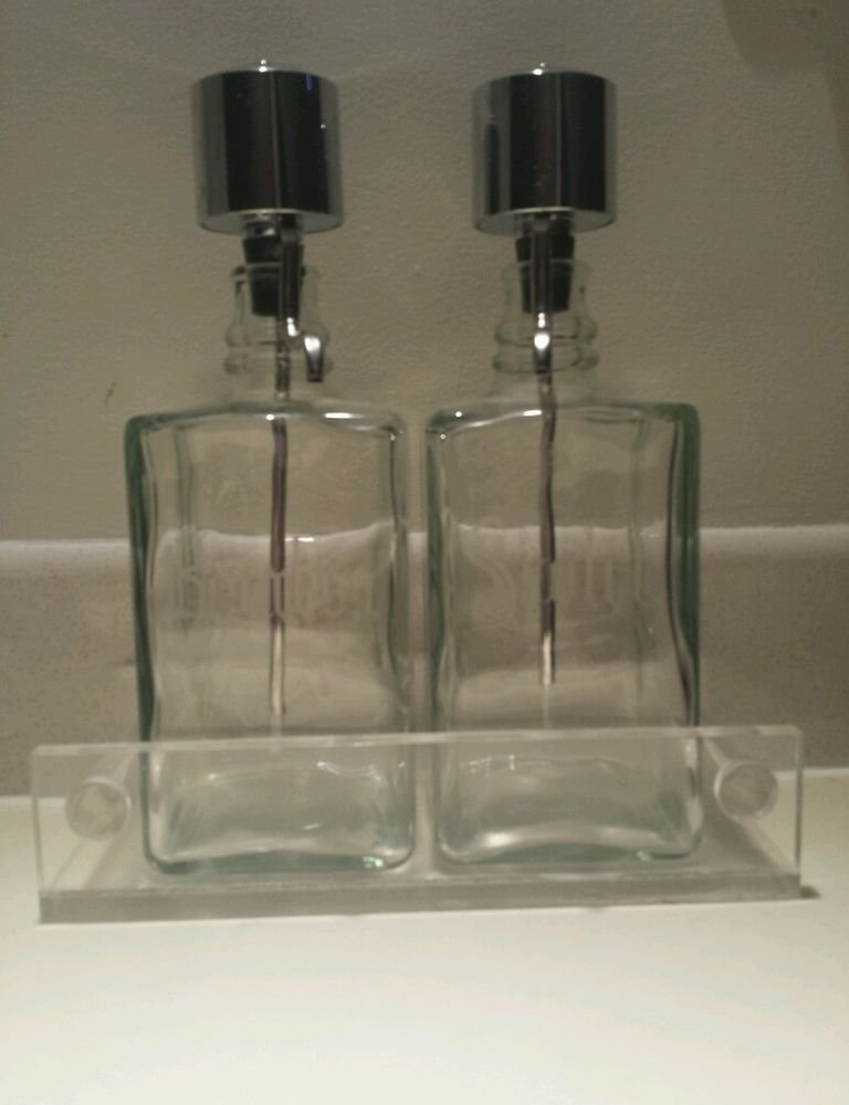 "Two Vintage Etched Pump Dispense Decanters - Bourbon & Scotch  ""SAVE NOW"""