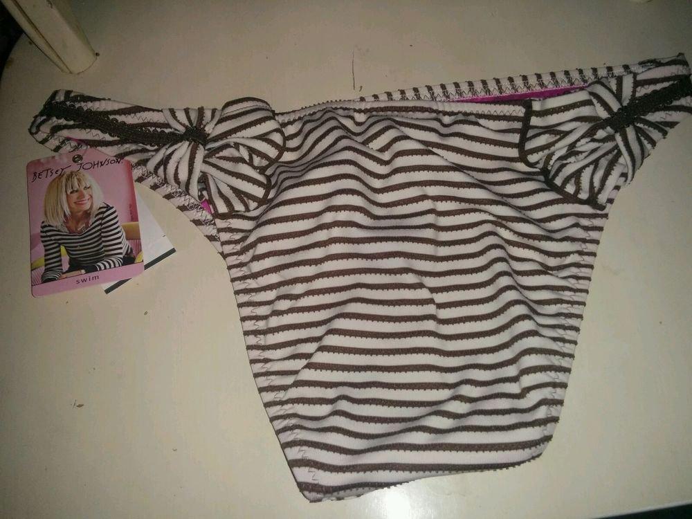 Betsey Johnson Petal Pusher Swim bikini bottom Brown and pink, L