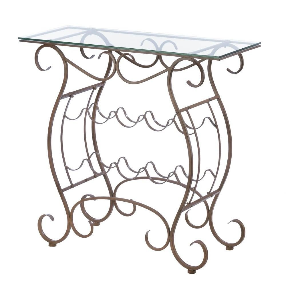 "Vineyard Wine Rack Table - 14.00"" W x 32.00"" H x 32.00"" LMaterials: Iron"