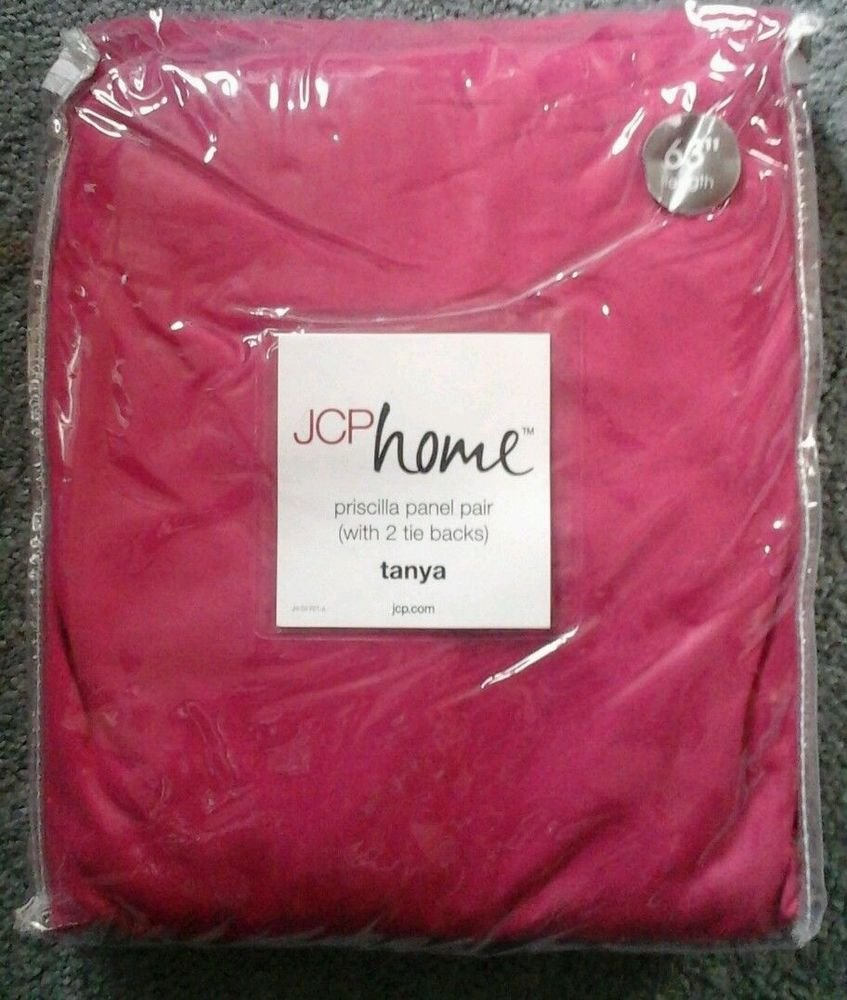 JCP Penny priscilla Panel curtains w/tie backs Exotic Pink- New in Package Tanya