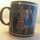 Laurel Burch Familia del , Mundo coffee mug - Made in Japan 1988 Laure Burch
