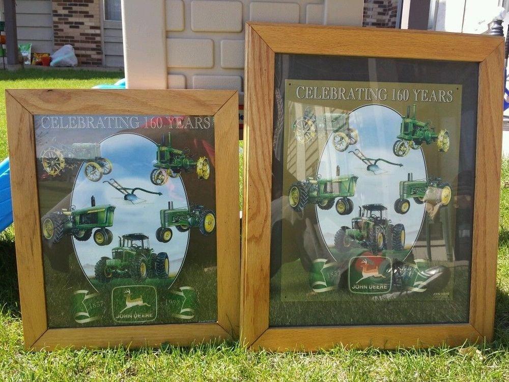 John Deere Celebrating 160 years 1837 to 1997 Framed John Deere Advertising Sign